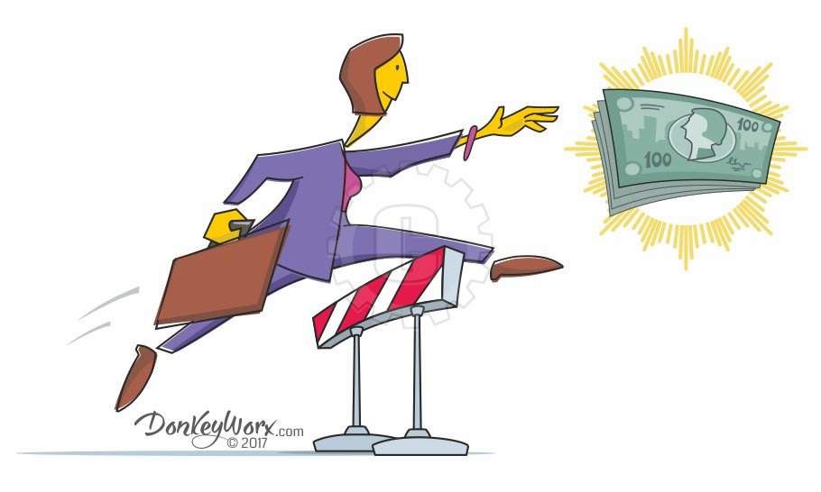 Cartoon of Saleswoman clearing final hurdle for cash prize