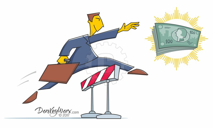 Cartoon of Salesman clearing final hurdle for cash prize - alternate