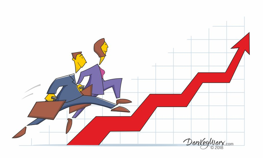 Cartoon of salespeople striding up sales graph