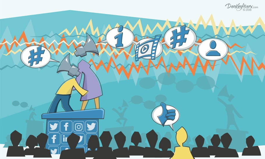 Cartoon graphic of megaphone figures on social media platform - bright colourway