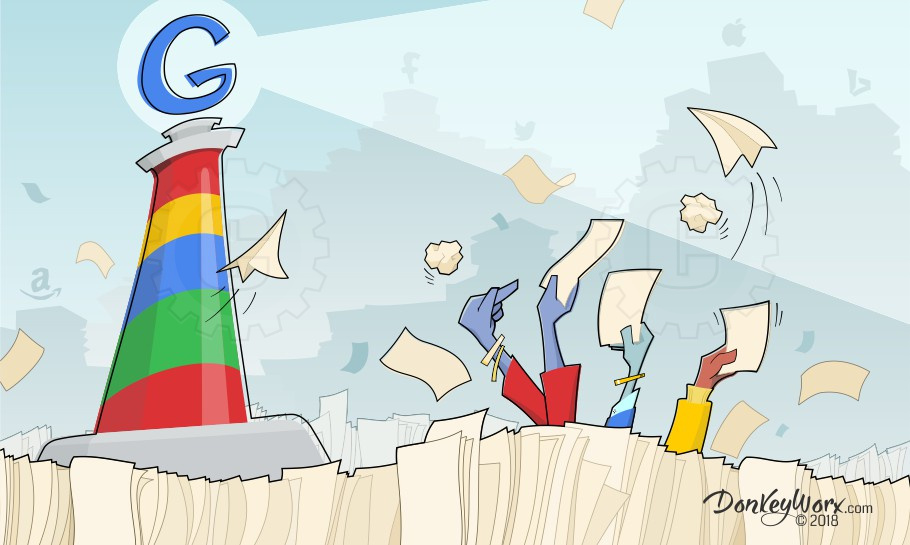 Cartoon of Web Pages Vying for Google Attention