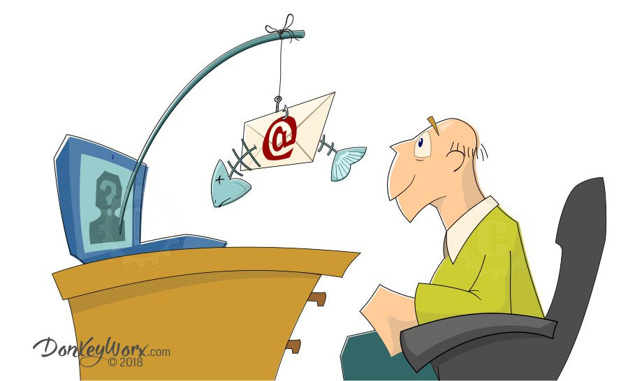 Cartoon of Computer User Greeted by Phishing Email